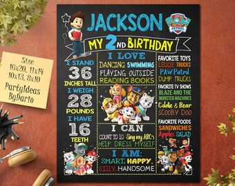 Birthday Poster PAW Patrol P01 Paw Sign Invitations Stats Party Board