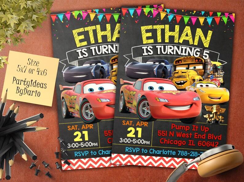 Cars 3 Birthday Invitation Party
