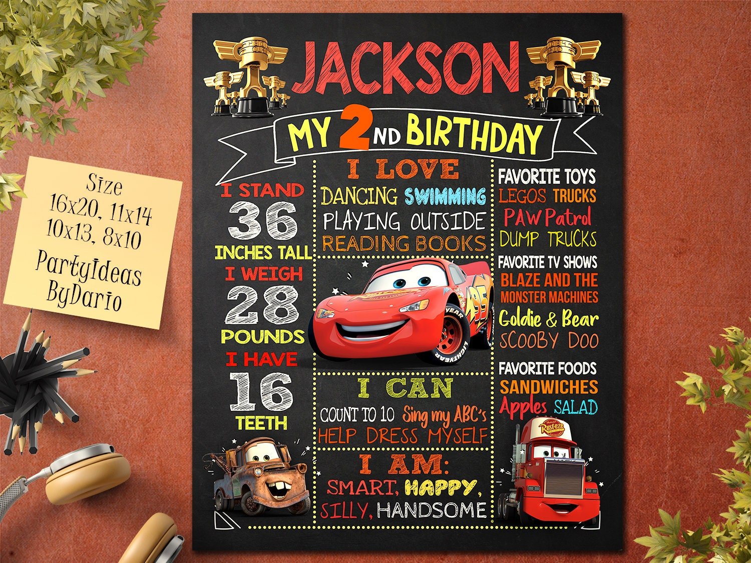 Cars Birthday Poster Sign 3 Invitations