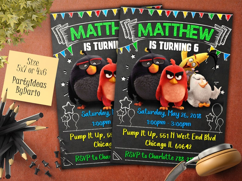 Angry Birds Invitation Digital File Angry Birds Birthday Invitation Angry Birds Birthday Angry Birds Party