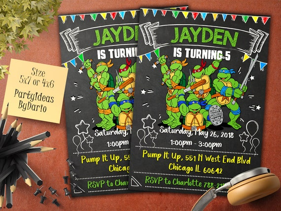 image about Ninja Turtles Birthday Invitations Printable identified as Invites TMNT Birthday Invitation, Teenage Mutant Ninja Turtles Invitation, TMNT Birthday Bash, Printable, Chalkboard, Electronic History