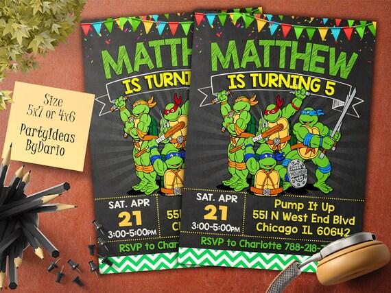 TMNT Birthday Invitation Teenage Mutant Ninja Turtles