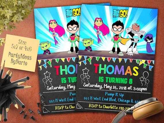 Invitación Teen Titanes Go Teen Titans Go Cumpleaños Invitar Jóvenes Titanes Superhéroes Titanes Invitaciones Jóvenes Titanes Personalizado Tt 02