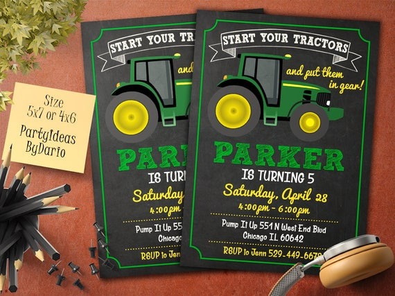 Tractor Birthday Invitation Farm