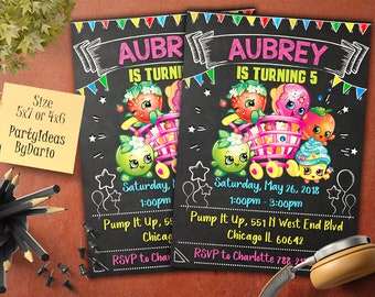 Shopkins Birthday Invitation, Shopkins Birthday Invitation, Shopkins Party Printables, Shopkins  invitation. Shopkins chalkboard Invitation