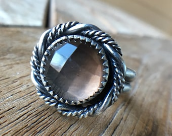 Smoky quartz | Silver ring | sz 7