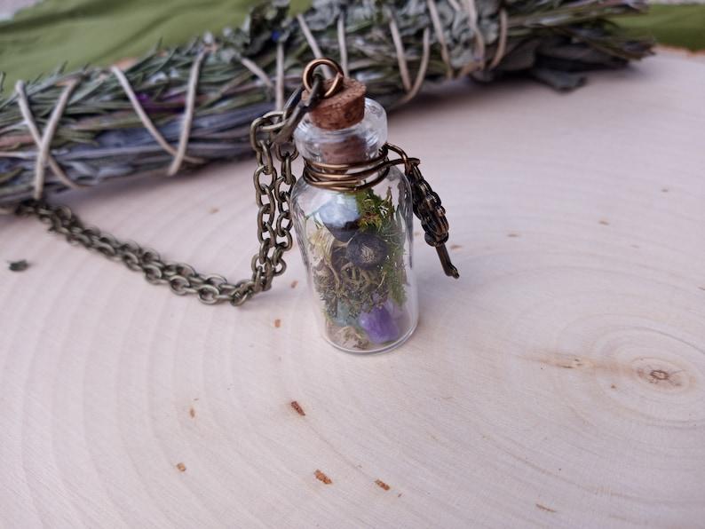 Mushroom and Moss Glass Jar Pendant