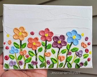 "Dancing Flowers - Impasto Textured Flower Art - 5x7"" Pallette Kife painting"
