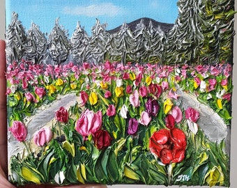 Tulip Field - Made-to-Order Oil on Canvas Impasto palette knife painting