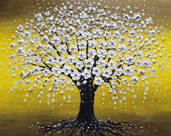 The Cherry Blossom Tree - Made to order metallic gold large oil acrylic painting home office decor canvas wall art
