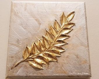 "Gold Leaf Fern 6x6"" Textured Palette Knife Original Painting - Silver Gold Metallic Impasto Wall Art Decor"