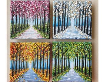 Four Season Set- Original Made to order mini oil painting series - Summer Fall Winter Spring seasonal small canvas wall art decor