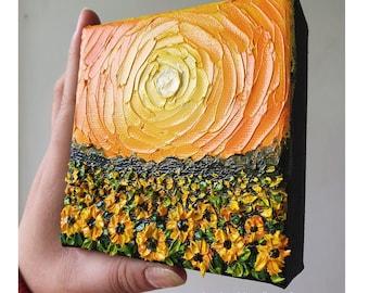 Sunflower Field - Made to order Original mini oil painting Summer Autumn decor - Small canvas wall art