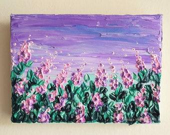 Purple Summer - Made-to-Order Original Impasto flower landscape palette knife painting