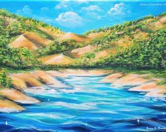 Beach Island - Original Modern Tropical Scenic Landscape Acrylic on Canvas Wall Art featuring mountains, tree and water.