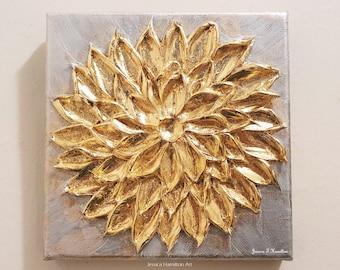"Gold Leaf Delilah Flower 6x6"" Textured Palette Knife Original Painting - Silver Gold Metallic Impasto Wall Art Decor"