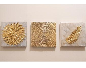 "Gold Leaf Nature Set 3 piece 6x6"" Textured Palette Knife Original Painting - Silver Gold Metallic Impasto Wall Art Decor"