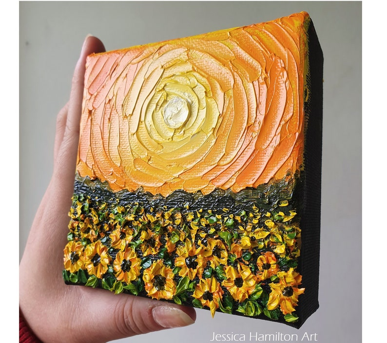 Sunflower Field  Made to order Original mini oil painting image 0