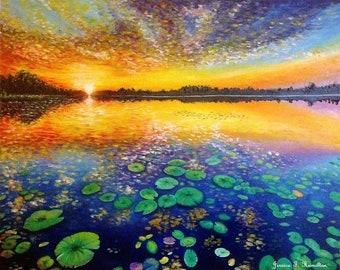 Lotus Pond Oil Painting  Custom Order Wall Art, Canvas Landscape Painting