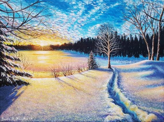 Original Painting Winter S Glow Acrylic On Etsy