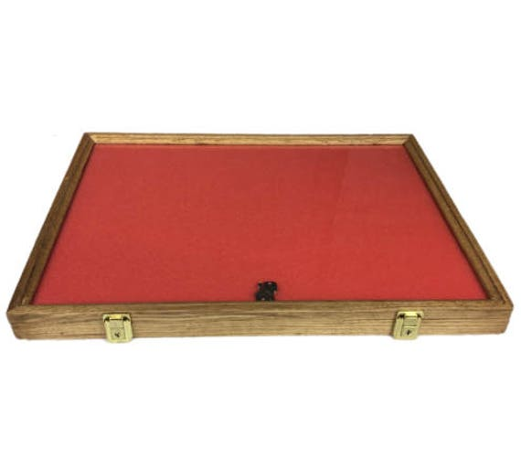 Oak Wood Display Case 18 x 24 x 2 for Arrowheads Knifes Collectibles /& More