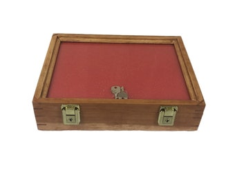 Cherry Wood Display Case 9 x 12 x 3 for Arrowheads Knifes Collectibles & More