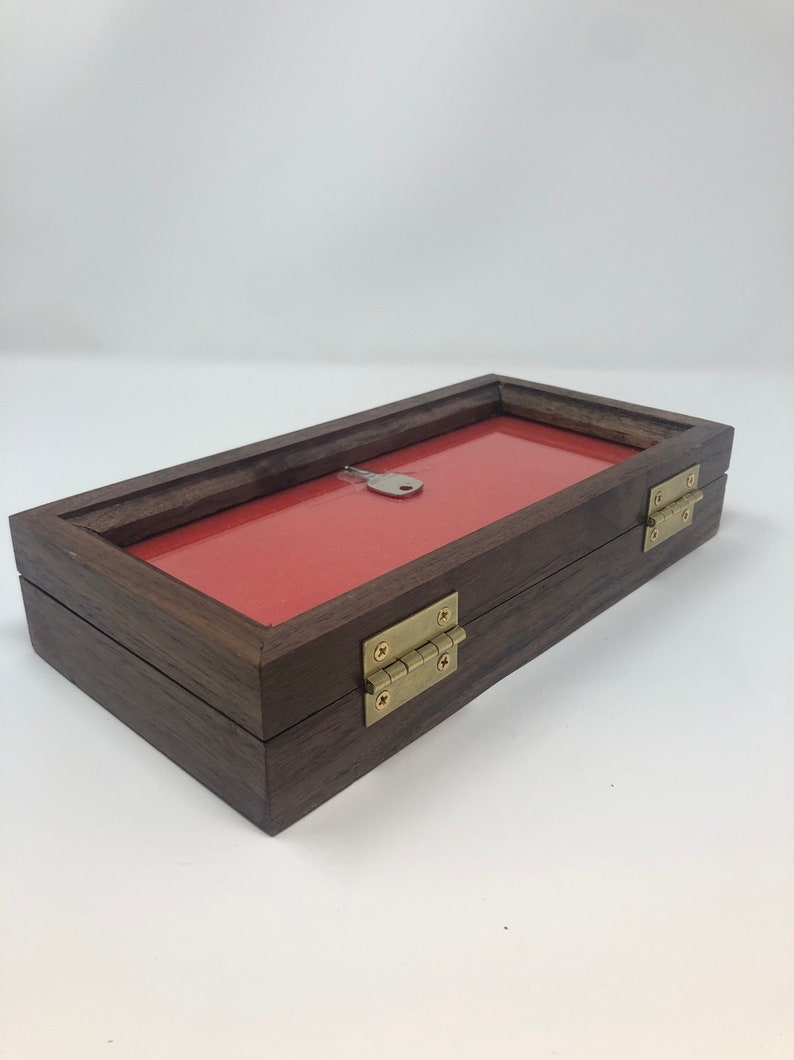 Walnut Wood Display Case 5 x 10 x 2 for Arrowheads Knives Coins /& More