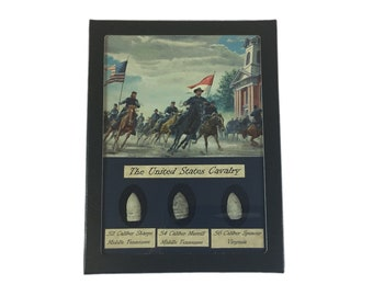 The Civil War United States Cavalry Bullet Relic Set with Glass Top Display Case