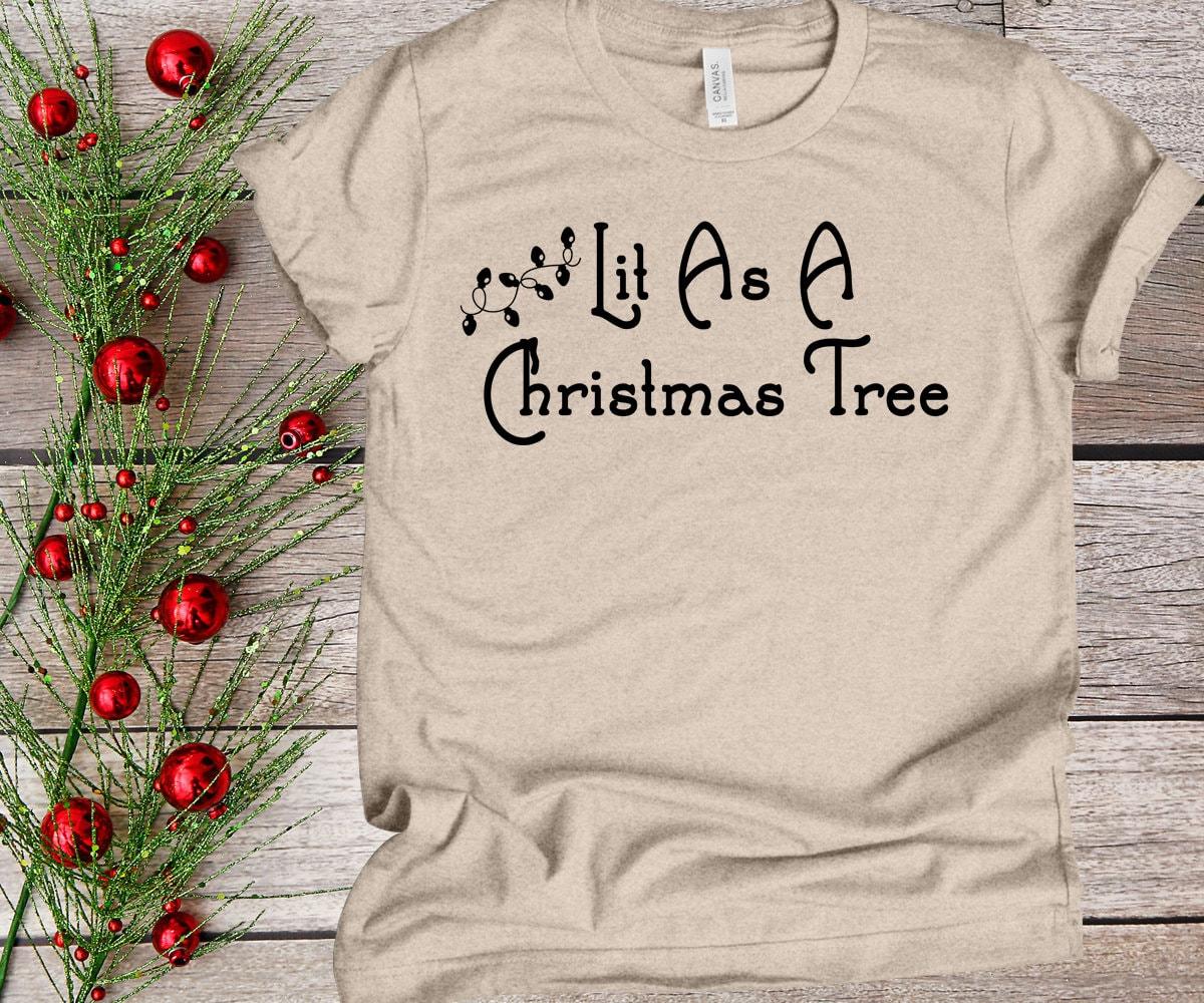 Holiday Christmas tree tshirt Lit Christmas shirt