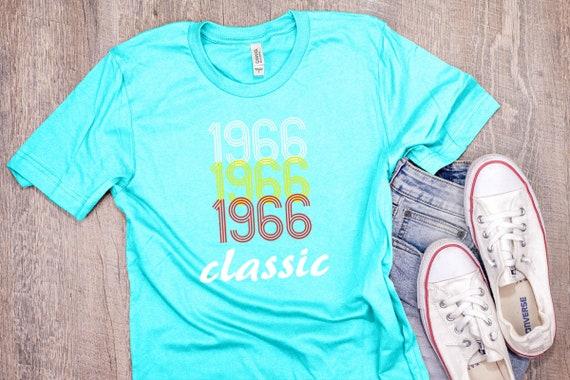 1966 anniversaire chemise Vintage année année année classique anniversaire né T Shirt 52e anniversaire cadeau unisexe T Shirt 7 couleurs à choisir de d6c5d0