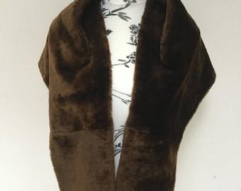 True Vintage rich chocolate brown faux fur cape shrug 1940s 1950s
