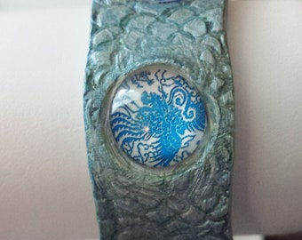 Polymer Clay Bracelet with Blue Glass Phoenix Bird Cabochons and Magnetic Safety Catch