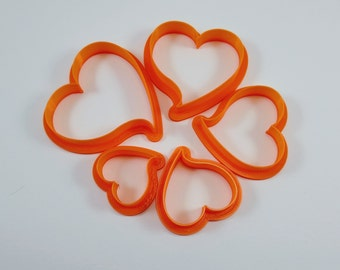 Polymer Clay Curved Heart  Cutter Set of Five, Mirror Image, Stackable for Easy Storage, Artist Gift