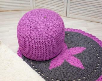 Blush Pink Ottoman Pouf, Nursery Footstool, Floor Cushion, Pink Floor Pillow, Knit Pouffe, Crochet Round Pouf, Nursery Decor, Bean Bag Chair