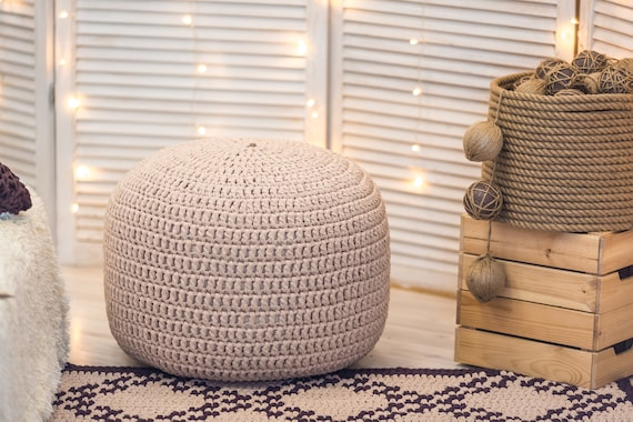 Sensational Caramel Knit Pouf Ottoman Pouf Ottoman Nursery Furniture Knit Floor Pillow Floor Cushion Kids Bean Bag Modern Decor Machost Co Dining Chair Design Ideas Machostcouk