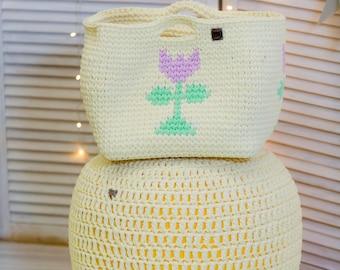 Custard Yellow Footstool, Pouf Ottoman, Nursery Furniture, Knit Floor Pillow, Floor Cushion, Kids Bean Bag, Organic, natural pouf,