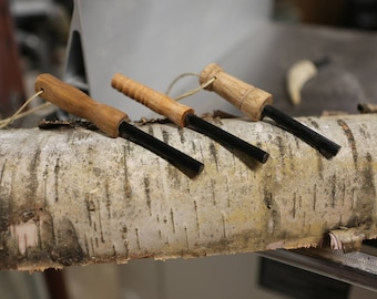 Ferro rods/fire-starters with either turned or carved wood or antler shed handles
