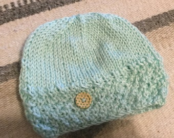 Mint Green Hand Knit Baby Hat 98fbaee37633