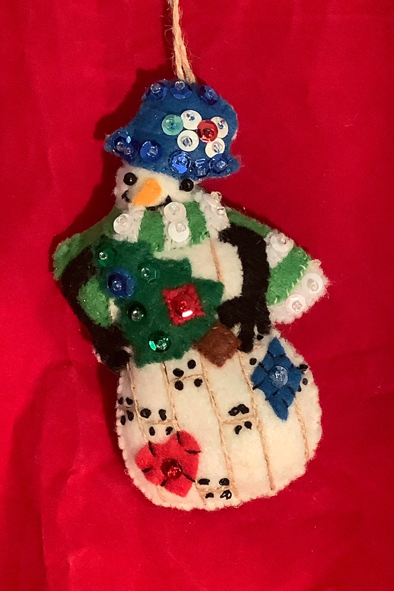 Hand Stitched Country Snowman Holding Tree Ornament