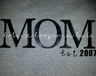 Mom shirt with kids name
