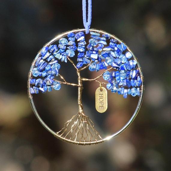 Reiki Symbol Blue Lapis Lazuli Natural Engraved Decorate The Tree of Life