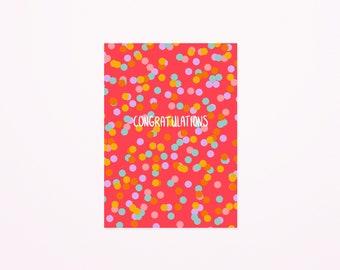 Congratulations confetti postcard A6