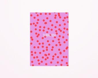 Thank you confetti dots postcard A6