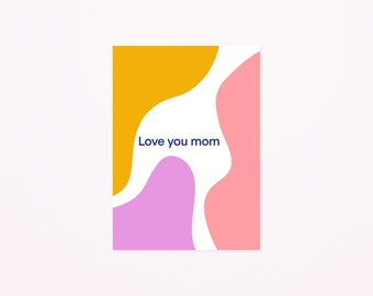 Love you mom postcard A6