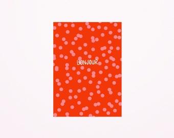 Bonjour confetti dots postcard A6