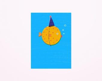 Birthday fish postcard A6