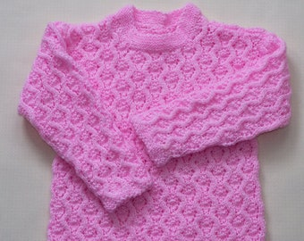 Pink Hand Knitted Girl's Sweater
