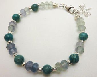 Natural Blue Fluorite Bracelet, Natural GemStone Jewelry, Green Gemstone Bead Bracelet, Etsy Bracelet, GemlinkDesign Jewelry