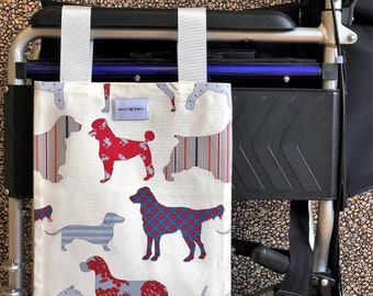 Doggylious Wheelchair Bag/ Mobility Aid / Zimmer Frame Bag (Canvas Material - Washable)