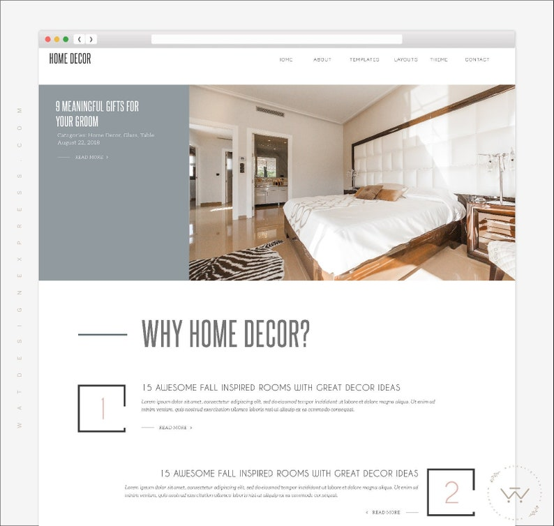 FREE INSTALLATION Home Decor Blogger Theme Clean Simple
